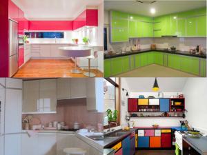 colourful aluminium kitchen cabinets